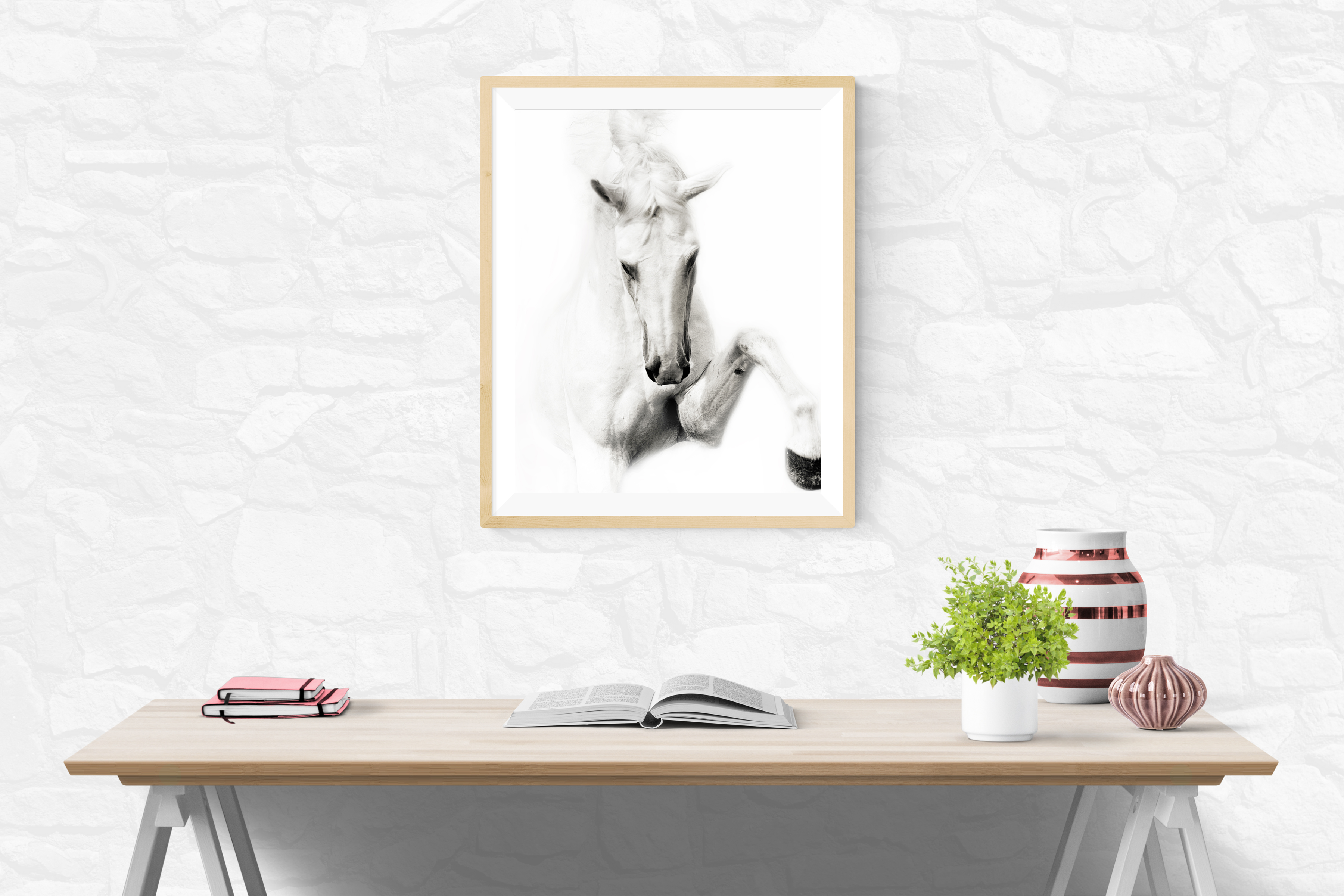 Striking White Stallion in Office Setting